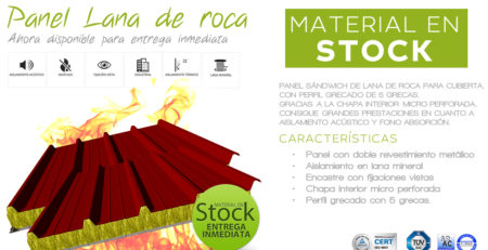 panel lana de roca en stock